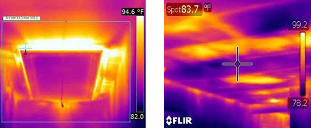 Infrared image of ceiling in summer shows gaps in attic insulation