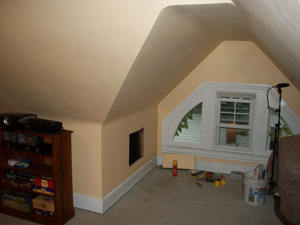 Kneewalls And Sloped Ceilings In The Third Floor Of A Two And Half Story Home